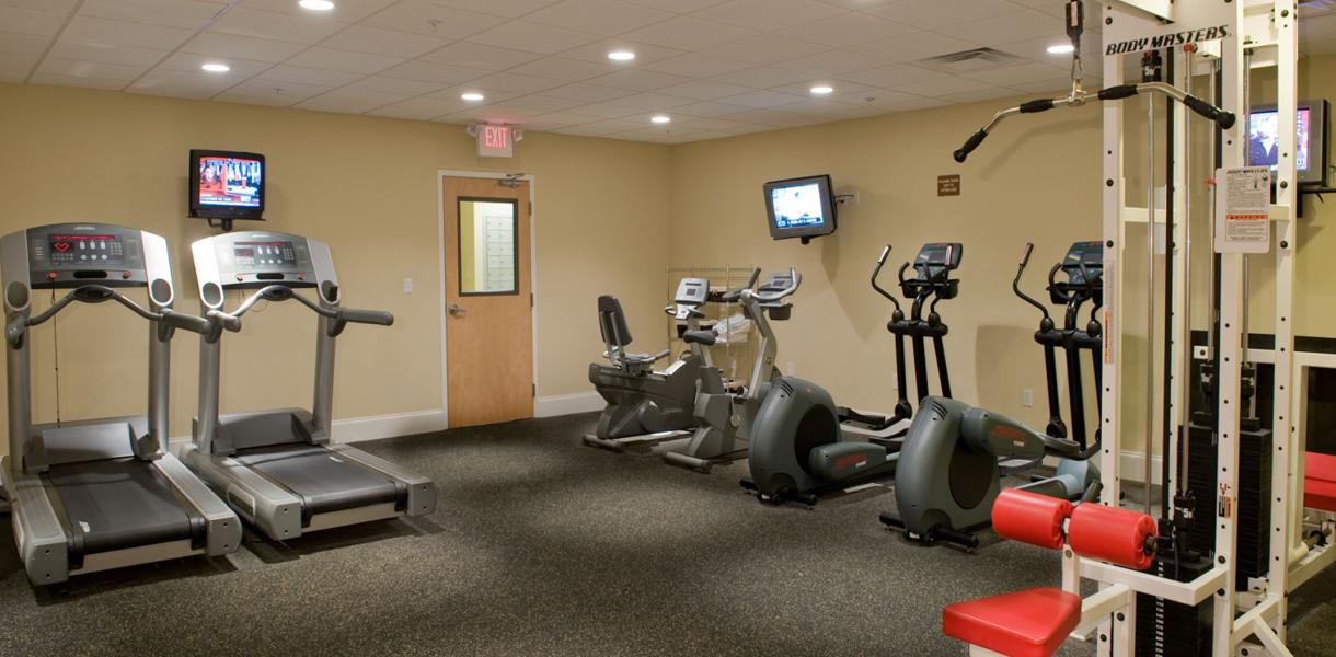 the fitness center at the Towers of Greenville