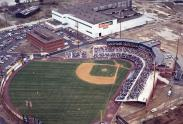 Photo of the Daniel S. Frawley Stadium, with the old shipyard office next to it